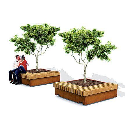 hardwood bench around corten plant box