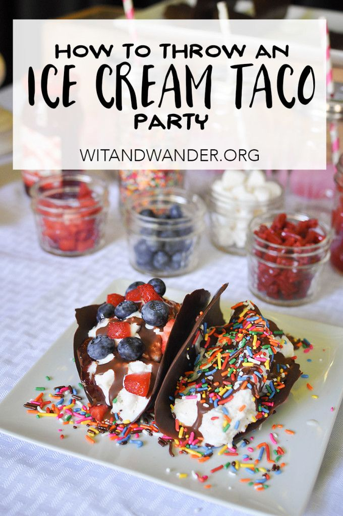 Scoops and Sprinkles Ice Cream Taco Bar Party featuring delicious homemade Frozen Ice Cream Tacos with a DIY chocolate taco shell and a delicious and colorful toppings bar. Also featuring decor like gold foil balloons and DIY giant sprinkles - Wit & Wander