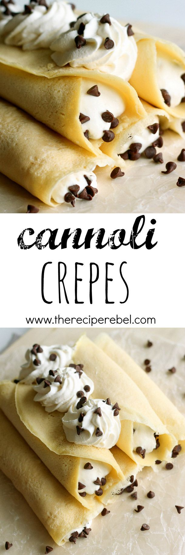 Cannoli Crepes: Soft homemade crepes filled with sweet ricotta cream and chocolate chips, topped with whipped cream and more chocolate chips. A breakfast version of an Italian favorite! www.thereciperebe...