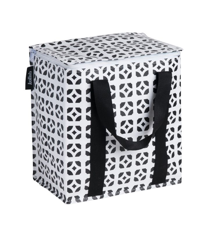 Cafe Medium - Poly $29.95 Insulated Shopping and Picnic Tote Water resistant construction Durable cotton canvas handles Custom Kollab woven branding and graphic placement L 29.5cm, H 33cm, D 18cm