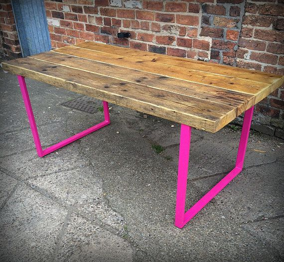 Reclaimed Industrial Chic 6-8 Seater Indoor or Outdoor Solid Wood and Hot Pink Metal Frame Dining Table.Bar Cafe Restaurant Furniture Steel