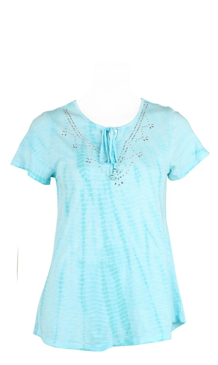 Tshirt manche courte effet Tye and Dye  turquoise,avec strass sur encolureLUCKY TURQUOISE,vendu sur www.depechmod.fr 29.9€