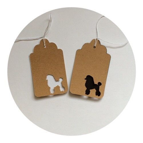 Poodle Tags Sets of 25 Tags for $4.50 All Tags are 2.5x1.5 inches. Tags are offered in 65lb Card Stock, Colors: Natural, Cream, White & Black Check out or Colored Tags collection to add a pop of color