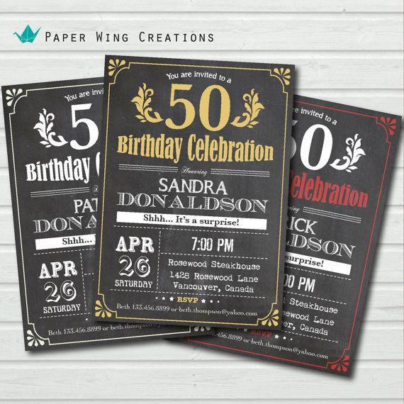 Retro Chalkboard 50th birthday invitation by ThePaperWingCreation, $13.00