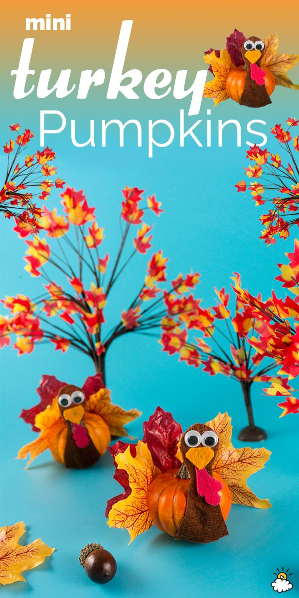 Glue Leaves To A Pumpkin To Make An Adorable Thanksgiving Turkey Decoration