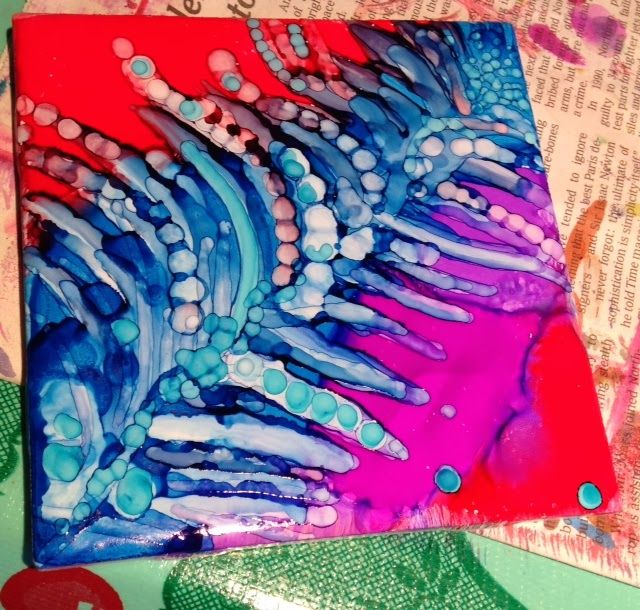 Pamela Makes Stuff: Alcohol Ink on tiles tutorial with tips for sealing to use as coasters