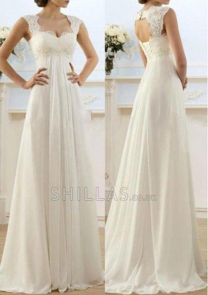 2016 New Romantic Beach A-line Wedding Dresses Cheap Maternity Cap Sleeve…