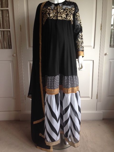 #asianfashion #maternity #nursing #anarkali #indianfashion with hidden lycra for bump comfort and long concealed zip for feeding http://www.bebstyle.com/shop/party-wear/maternity-and-nursing-black-anarkali.html