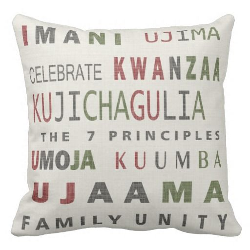 Word pillow using the 7 Kwanzaa principles, urging Family unity and celebration.  The colors , on taupe, beige ground,  are inspired by traditional Kwanzaa colors that are sure to fit into many home decor settings.  Reverse of this pillow has a village inspire motif to to fit the occasion,