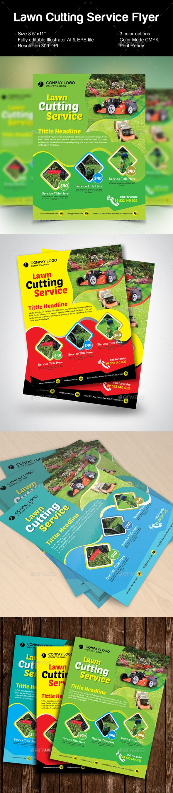 """Lawn Cutting Service Flyer by design_station Lawn Cutting Service Flyer (Editable) Specifications: - Size: 8.5鈥漻11鈥?20- Bleed: .125\""""- Two color variations (Cyan, Green & Yell"""