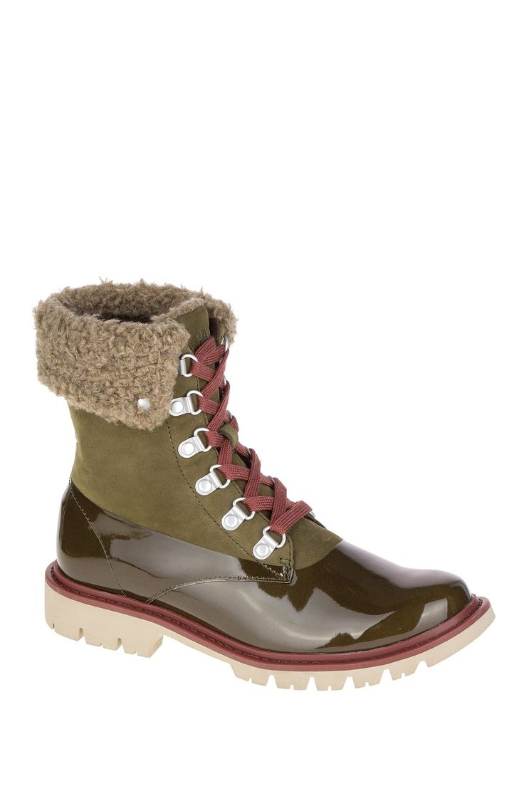 CAT Footwear Hub Hiker Faux Fur Collar Leather Lace-Up Boot