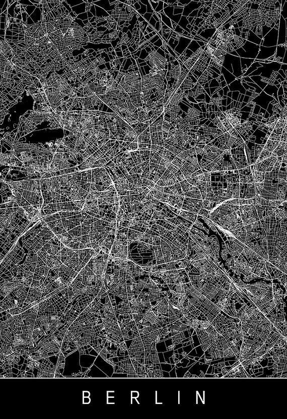 BERLIN CITY MAP – Line Art City Map – Road Map of Berlin Minimalist City Map Germany Map Wall Art Modern Design City Grid Poster Ribba