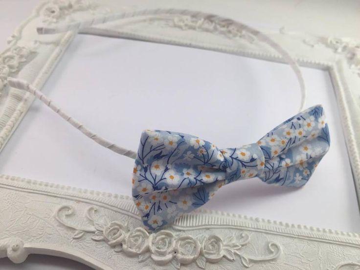 Serre-tete Tissu Liberty Mitsi Valeria bleu : Accessoires coiffure par fleurs-de-provence