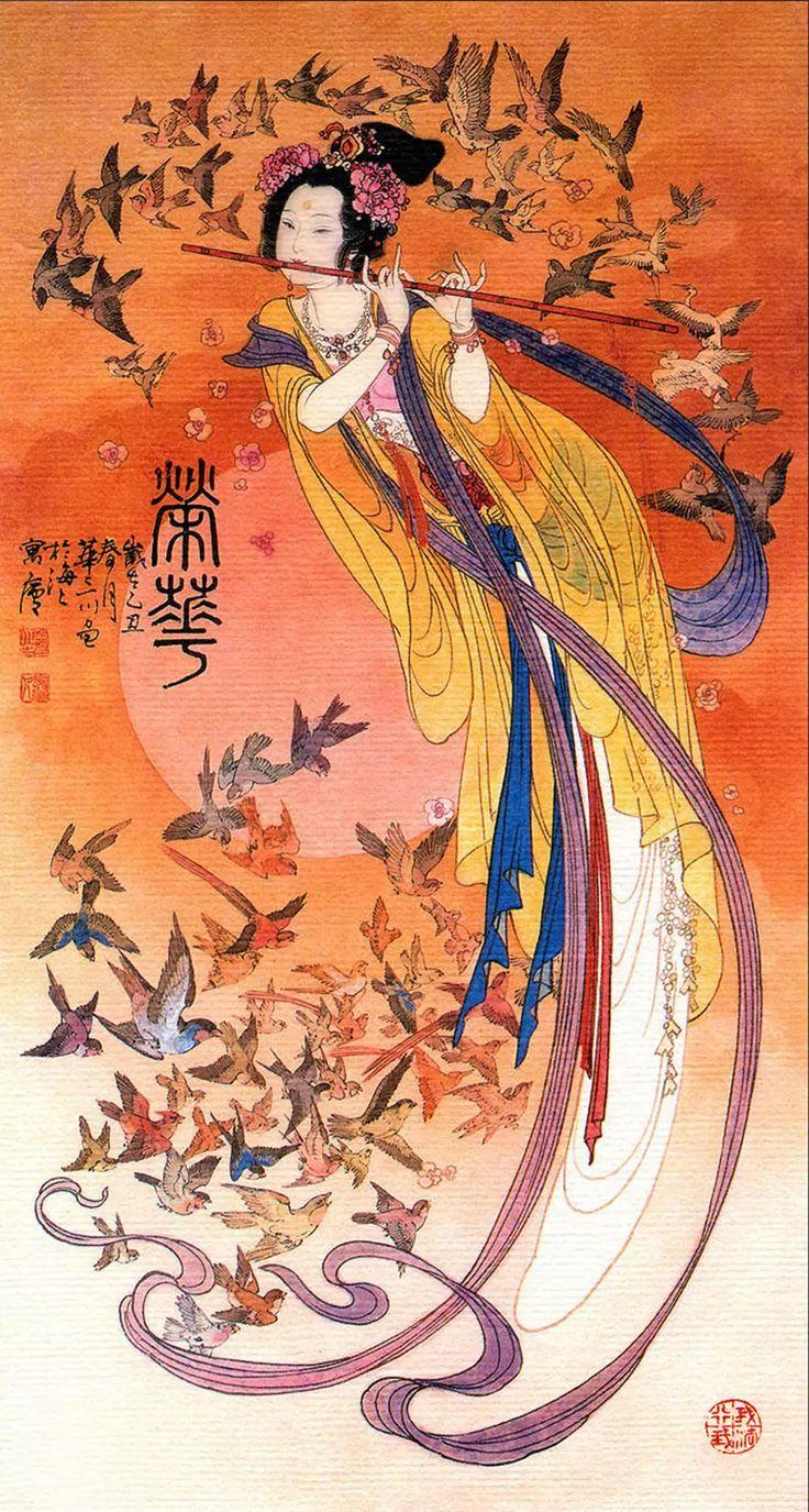 仙女吹笛图