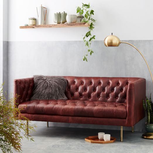 Modern Chesterfield Loveseat Sofa, Leather, Oxblood Leather