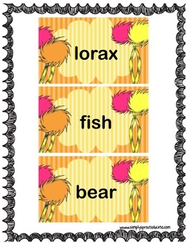 This printable is a great addition to The Lorax book or movie. Have students practice a few basic sight words from the book or use the blank ones t...