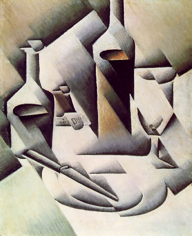 Bottles and knife // by Juan Gris