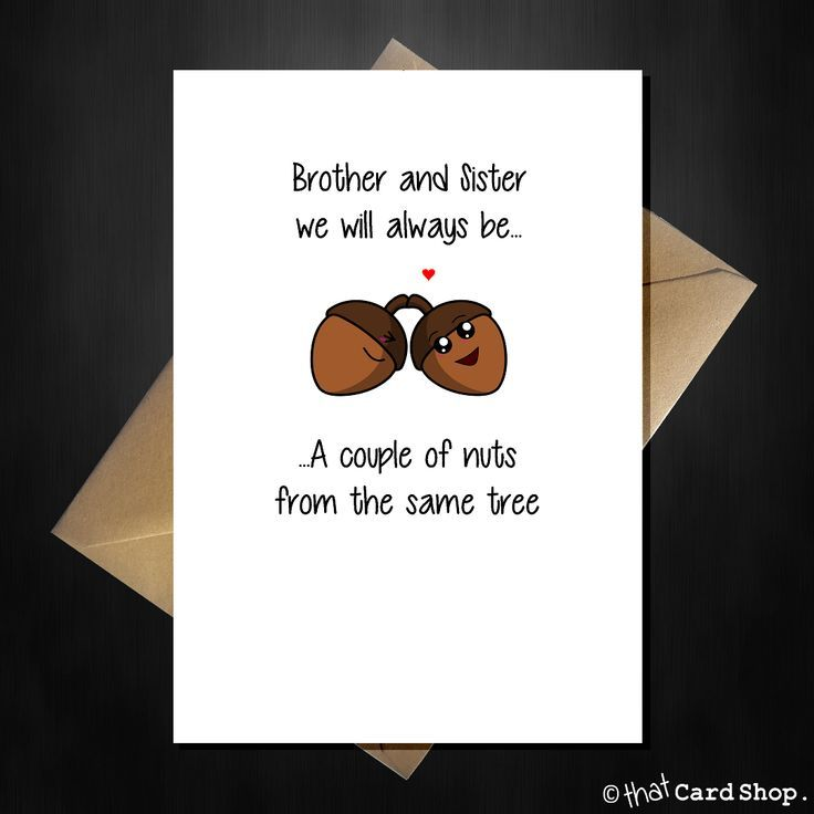 Acorn Y Greetings Card For Your Brother Sister Any Occasion