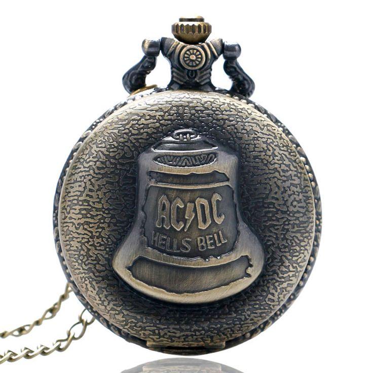 Hot Antique Steampunk Bronze AC DC Hells Bell Pattern Pocket Watch Necklace Pendant Chain Flower Craving Back Men Women Gift