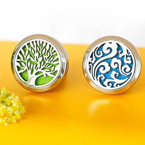 2PCS Car Air Freshener Aromatherapy Essential Oil Diffuser Vent Clip - Cloud Tree of Life Stainless Steel Locket