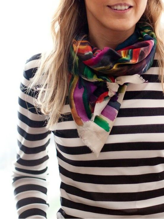 Striped shirt with abstract scarf.: Style, Colors Scarves, Mixed Patterns, Black And White, Mixed Prints, Stripes Shirts, Strips, Scarfs, Silk Scarves