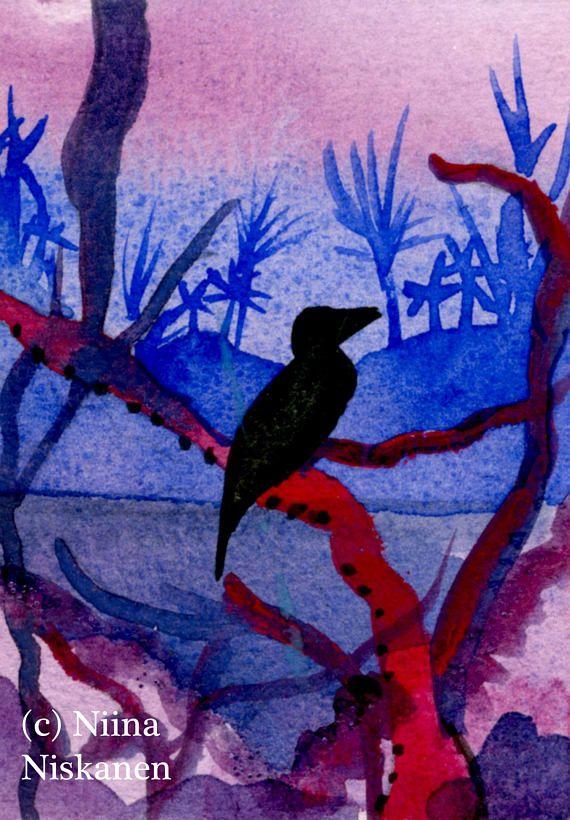 Gentle Breeze ACEO Original Landscape Painting Bird Silhouette