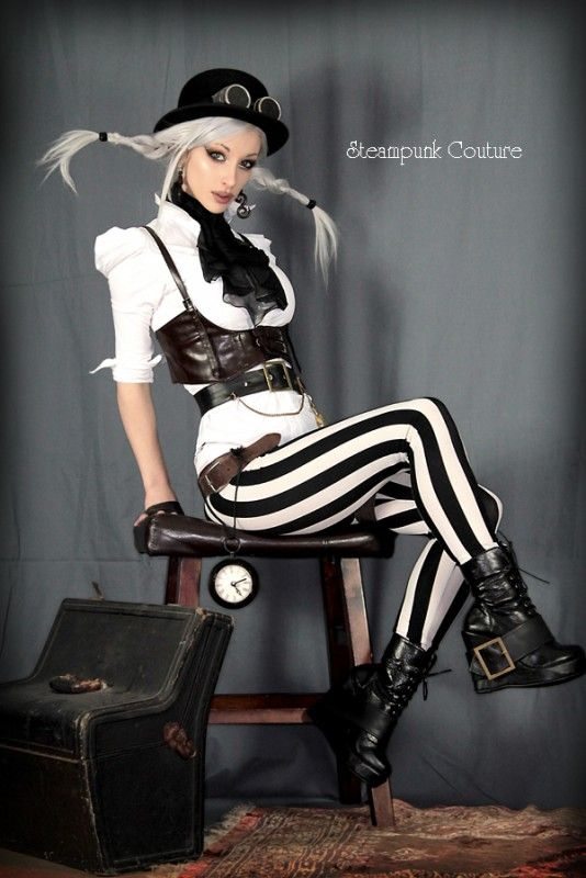 Kato Steampunk Dress Black & White s...