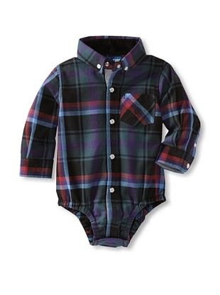 70% OFF Andy & Evan Baby Plaid Flannel Shirtzie (Black/Multi)