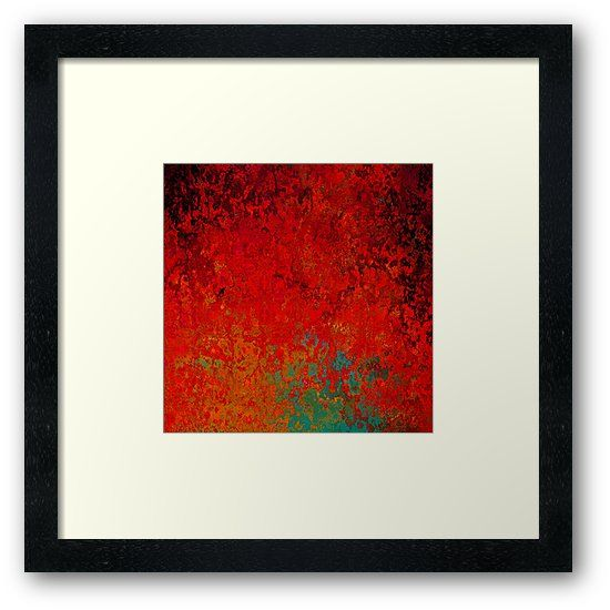 This abstract artwork is titled Figuratively Speaking and is filled with loads of texture and varying shades of red, gold, turquoise, green and black. • Also buy this artwork on wall prints, apparel, stickers, and more.