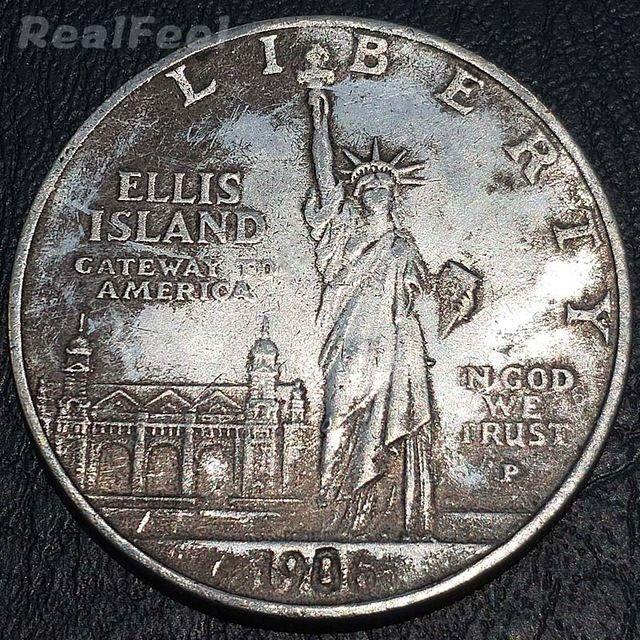 American Old Replica Coins 1906 Us Liberty 1 Dollar Copy Coin Ellis Island Antique Silver Plated Copper Collectible Coins Coin Collecting Coins Antique Silver