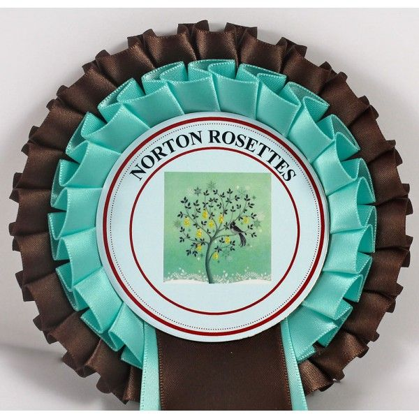 Chocolate brown and turquoise blue!  A color combo you don't see every day on rosettes.