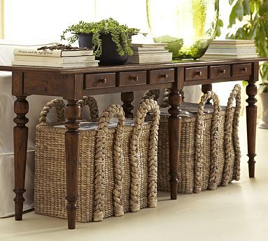 Pottery Barn $599 plus $50 shipping. Tivoli Large Console Table. A must for behind your sofa.  This one just happens to be perfect.  Love it!
