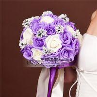 2015 roxo & branco l dama de honra de casamento rosa Artificial flores Bouquets de noiva Handmade flores Bouquets