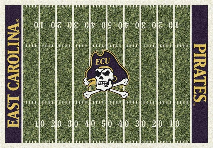 ECU East Carolina Football Field Rug. This Milliken Pirates rug features a detailed football field layout complete with yard lines as well as the East Carolina team name in the end zones. The East Car
