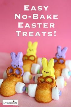 Wow your friends and family with the most adorable no-bake treat: Easter racing rabbits! All you need are Twinkies, icing, marshmallows, pretzels, Easter M&Ms, and bunny Peeps. Start by building the race car with the Twinkie as the car's body, the marshmallows as wheels, and the pretzel as a steering wheel! Then put the bunny Peep in the driver's seat. Vroom vroom. Forget hopping, this bunny can drive! Read on as eBay shows you how to make this cute treat.