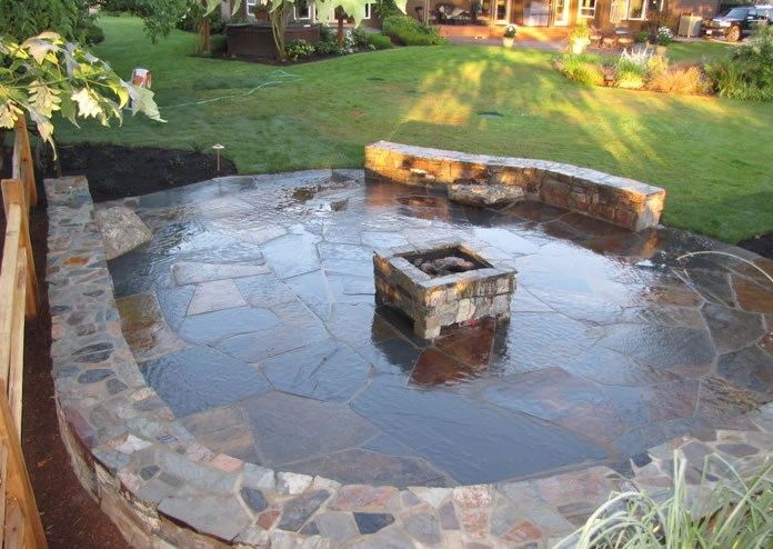 Square Fire Pit, Stone Fire Pit, Stone Seat Walls Fire Pit Woody's Custom Landscaping Inc Battle Ground, WA