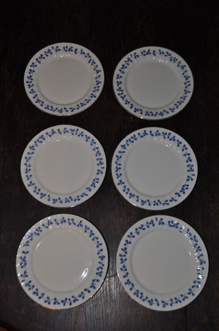 RARE Vtg Set of 6 Dessertplates and 1 Serving Plate Blue Vanamo by Esteri Tomula, Arabia Finland