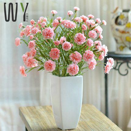 СТРОИТЕЛЬСТВО искусственные цветы цветочные костюм цветы гвоздики шелк цветок искусственные цветы декоративные предметы интерьера ваза для цветов украшения гостиная -tmall.com Lynx