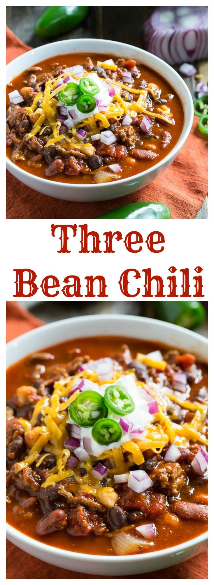 Three Bean Chili | Bean Chili, Beans and Chilis