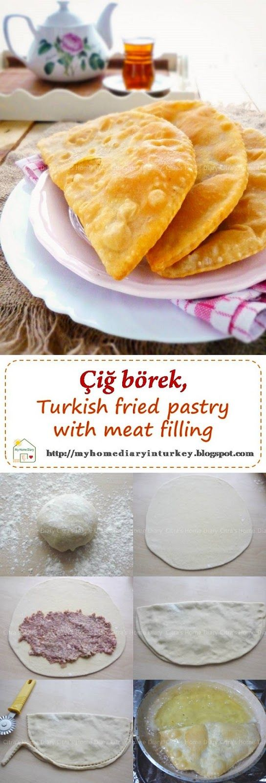 Çiğ börek (Turkish Raw meat pastry). And since börek is almost everyday meal in our house, today İ am going to share on of our favorite börek called çiğcbörek (read; chee borek). Çiğ means raw, because this börek, filled with raw mincemeat and fried in oil. #börek #burek #borek #cigborek #çiğbörek #turkishfood #meatpastry #turnoverrecipe #breakfast #friedpastry