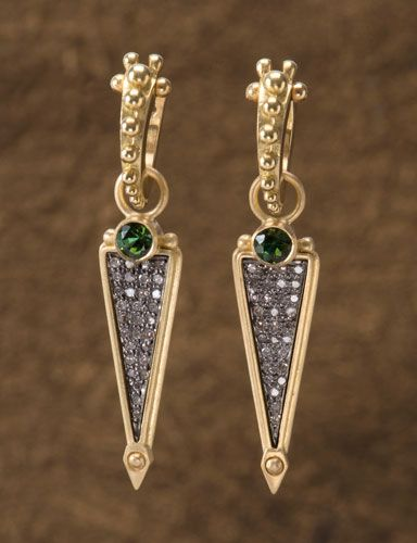 Green Tourmaline Athame Drops The 18kt gold Athame Drops with sterling silver micro paved diamonds stand out with the sophisticated sparkle of deep green tourmalines. The Golden Eye