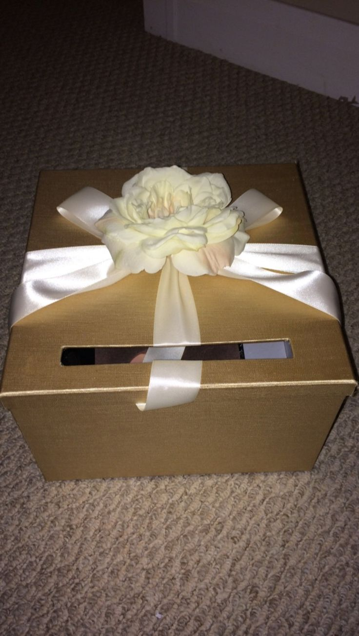 wood wedding card holders%0A Gold wedding card box with ribbon