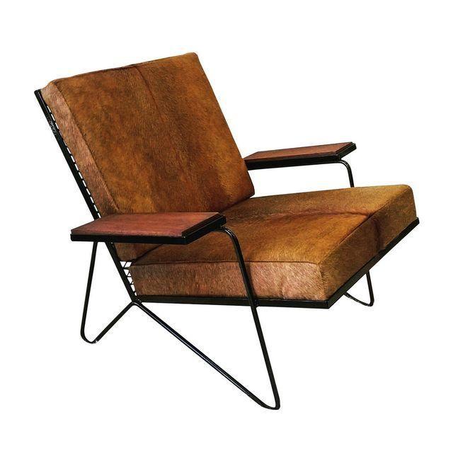 Vintage Mid Century Modern Cowhide Lounge Chair