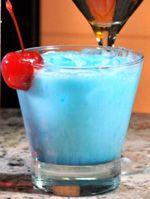 The Gronk - New England Patriots inspired cocktail 1 1/2 oz tequila (Lees suggests Patron) • 1/2 oz white crème de cacao • 1/2oz blue curaçao • 1/2 oz cream • maraschino cherry for garnish