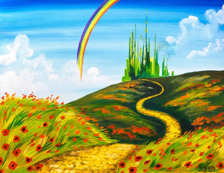 Easy Acrylic Painting tutorial Emerald City Landscape  Wizard of OZ Youtube Fully Guided Step by step home art class.