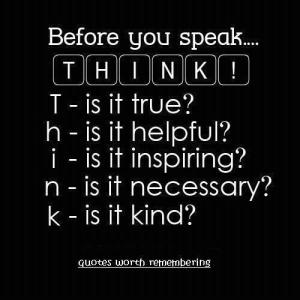 THINK before you speak by marietta words
