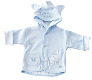 Premature jacket. Fantastic jacket for any occasion with print on hood. Cute rabbit design with patch pocket on the front. Made from 100% cotton for that extra nice feel. A nice addition to your premature baby's wardrobe. Available in blue and pink. In sizes 3-5lbs, 5-8lbs, Newborn.