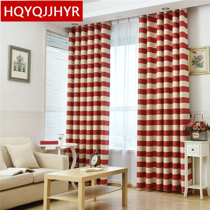 Red striped Mediterranean semi-shaded curtains for living Room sheer curtains for kitchen window curtain bedroom /balcony/Hotel