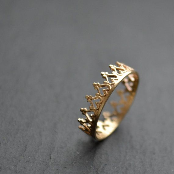 I'd prefer silver or white gold There is no queen without a crown, 14K gold ring by lunaticart, €90.00