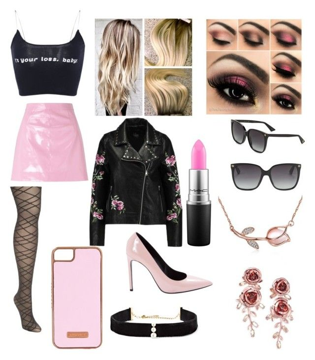 """Black And Pink"" by girl-genuis-in-the-making on Polyvore featuring Miss Selfridge, Yves Saint Laurent, Anissa Kermiche, MAC Cosmetics, Gucci, Skinnydip, Kate Spade and plus size clothing"